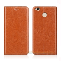 Business Crazy Horse Genuine Leather Case For Xiaomi Redmi 4X 4 X 5 0 Invisible Magnet
