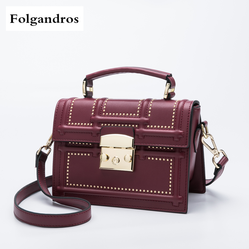 Fashion Embossed Genuine Leather Shoulder Messenger Bags Women Handbag Cowhide Leather Lady Rivet Crossbody Bags Peekaboo Bag women bag genuine leather bag brands leather handbag female shoulder crossbody bags cowhide fashion design messenger bags