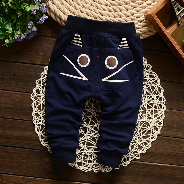2016 nueva primavera y otoño los pantalones del bebé 1 unidades algodón imágenes de dibujos animados pantalones de los cabritos 7-24 meses Baby Boy pantalones