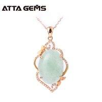 Natural Jade Real 18k Rose Gold Pendant Chinese Jade Stone Women Wedding Pendant Jewelry 18k Rose