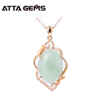 Natural jade real 18k rose gold pendant, Chinese jade stone, women wedding pendant jewelry, 18k rose gold with diamond