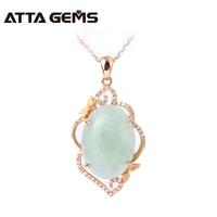 Natural jade real 18k rose gold pendant, Chinese jade stone, women wedding pendant jewelry, 18k rose gold with diamond