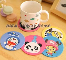 hot sales cartoon Cute Drink Holder Placemat Button Coaster Cup Mat Silicone tovaglietta americana Household Items