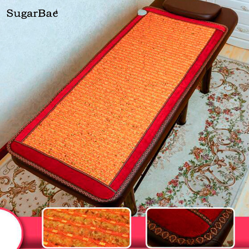 Electric Heating Natural Jade Seat Thermal Mat Tourmaline Mattress Natural Stone Back Relax Far Infrared Therapy Mat pop relax 110v natural jade massage mat far infrared thermal physical therapy healthcare pain relief jade stone heating mattress