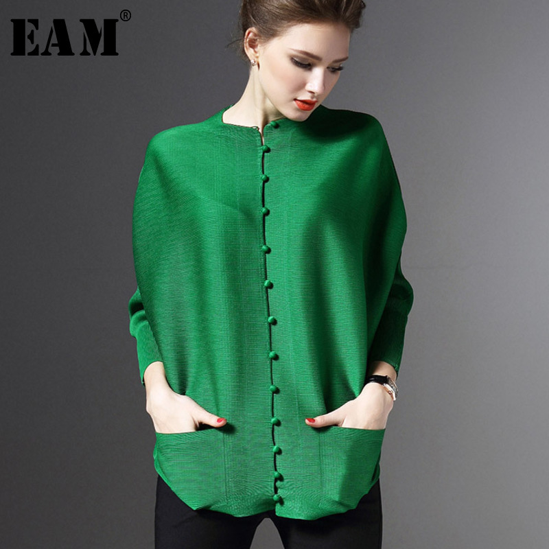 [EAM] 2020 New Spring Autumn  Round Neck Long Sleeve Fold Pleated Single Breasted Loose Shirt Women Fashion Tide Blouse  JG513