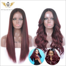 6A 200 Density Ombre Silk Base Human Hair Lace Front Wigs Women Ombre Burgundy Silk Top Full Lace Virgin Wigs With Baby Hair