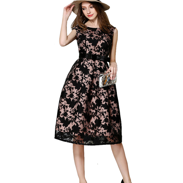 New Summer Woman Mesh Dress Hollow Out Black Leaf Print Belt Organza Dresses A Line Evening Party Retro Dress Vestido Vintage
