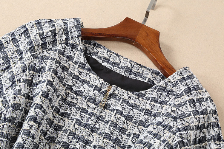 De Mode Marque Cou Avant Qualité 2018 Tweed Automne Courtes Design À Gland Manches Zipper Haute Luxe Femmes Robe Européenne O gqB5058