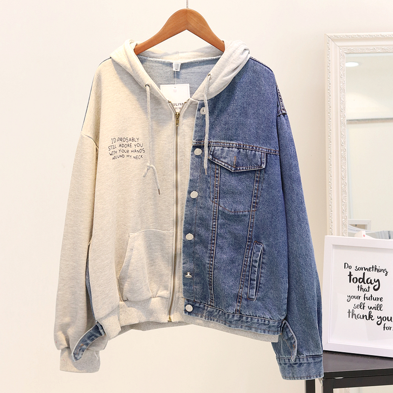 2018 Autumn Denim   Jacket   Female Loose Hooded Sweatshirt Woman Letters Printed   Basic     Jackets   Overcoat Student Casual Outwear