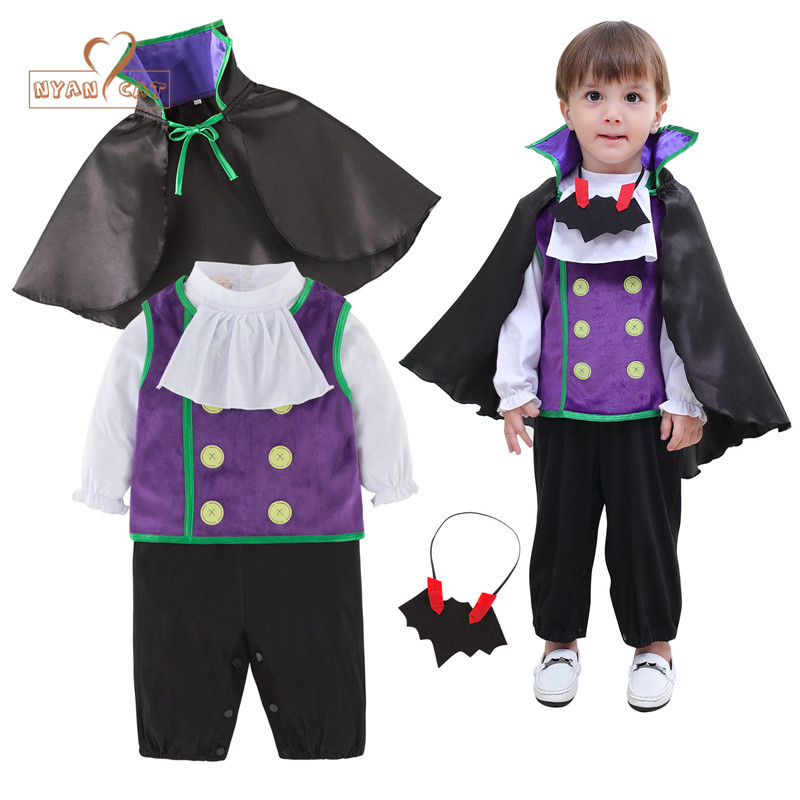 Nyan Cat Baby vampire costume Infant toddler 3pcs clothing set vest+cloak+romper children halloween holiday purim outfits baby halloween vampire costume boys outfit romper photo props toddler hoodies clothing for kids