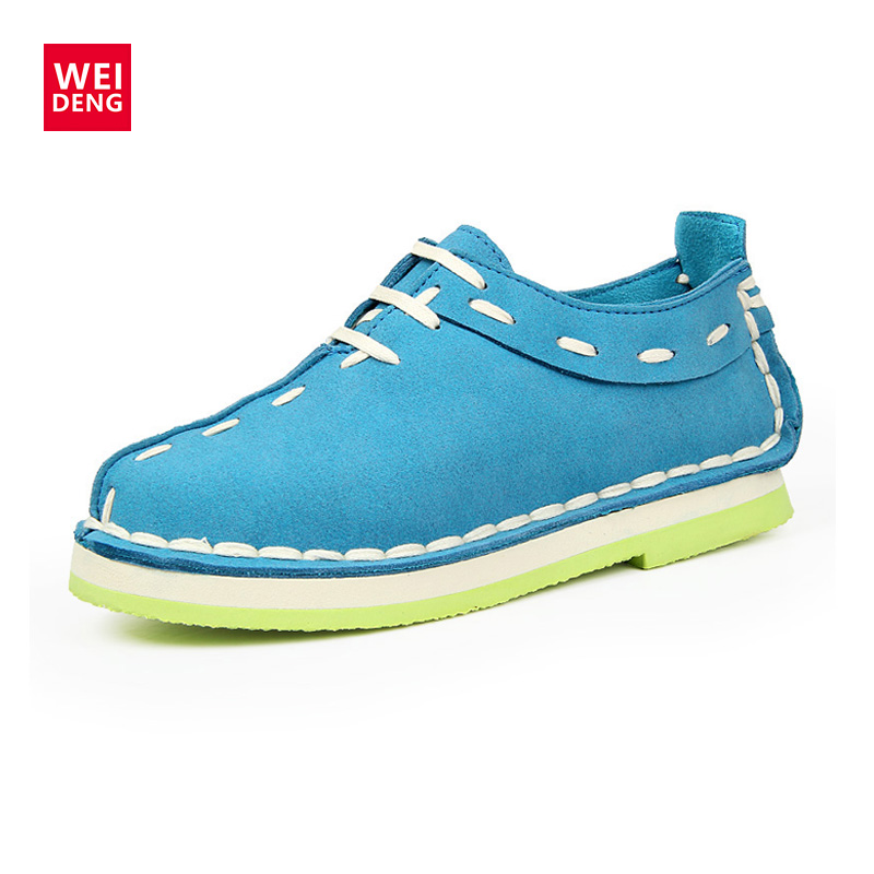 WeiDeng 5 Colors Preppy Style Genuine Leather Women Casual Smoking Suede Insole Candy Shoe Are Low Hand Made Sewn Shoe 2016 New