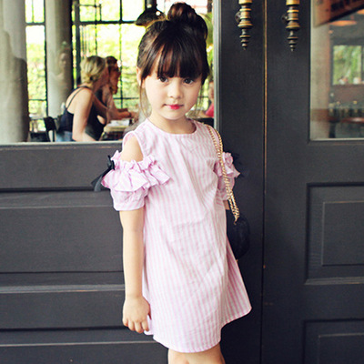 3-12Y Baby Girl Striped Princess Dress 2016 Summer 100% Cotton Party Dress Kids Dresses for Teenage Girls Children Clothes monsoon girls dresses summer baby girls clothes kids dresses lemon print princess dress girl party cotton children dress 67