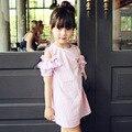 3-12Y Niña Princesa Vestido de Rayas 2016 Del Verano 100% Algodón Cabritos del Vestido de Fiesta Vestidos para Adolescentes Niñas Ropa de Los Niños