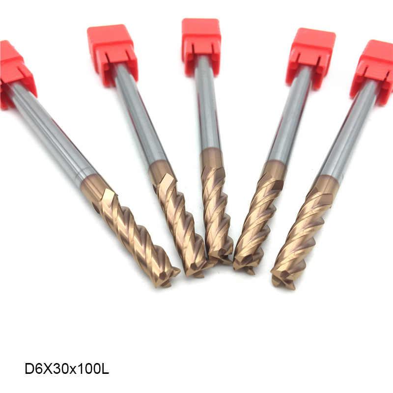 1 pièces Fraise 4mm 6mm 8mm HRC60 4F Extra Longue 75mm 100mm 150mm Fraisage CNC Tour Indexable Fraisage Outils de Coupe