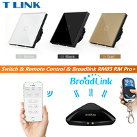 TLINK Broadlink EU UK Standard 1 Gang 1 Way Touch Switch Remote Control Wall Light Glass