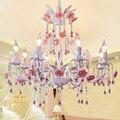 Прованская светодиодная люстра с розовым цветком  кристальная Люстра для спальни  столовой  светодиодный Свадебный светильник с розами