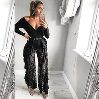 BKLD High Waist New Sexy Women Mesh Sheer Transparent Long Loose Beach Flare Pants Hollow Out Floral Lace Ruffles Party Trousers