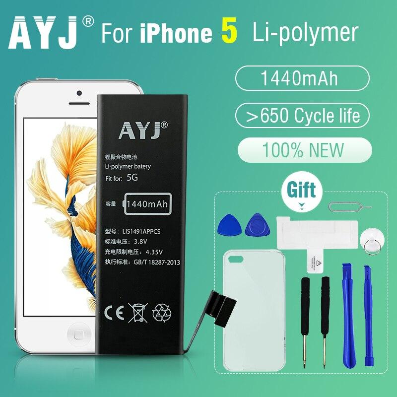 AYJ New Original AAA Quality Phone Battery for iphone 5 5G Durable High Real Capacity 1440mah Zero Cycel With Repair Tools Kit