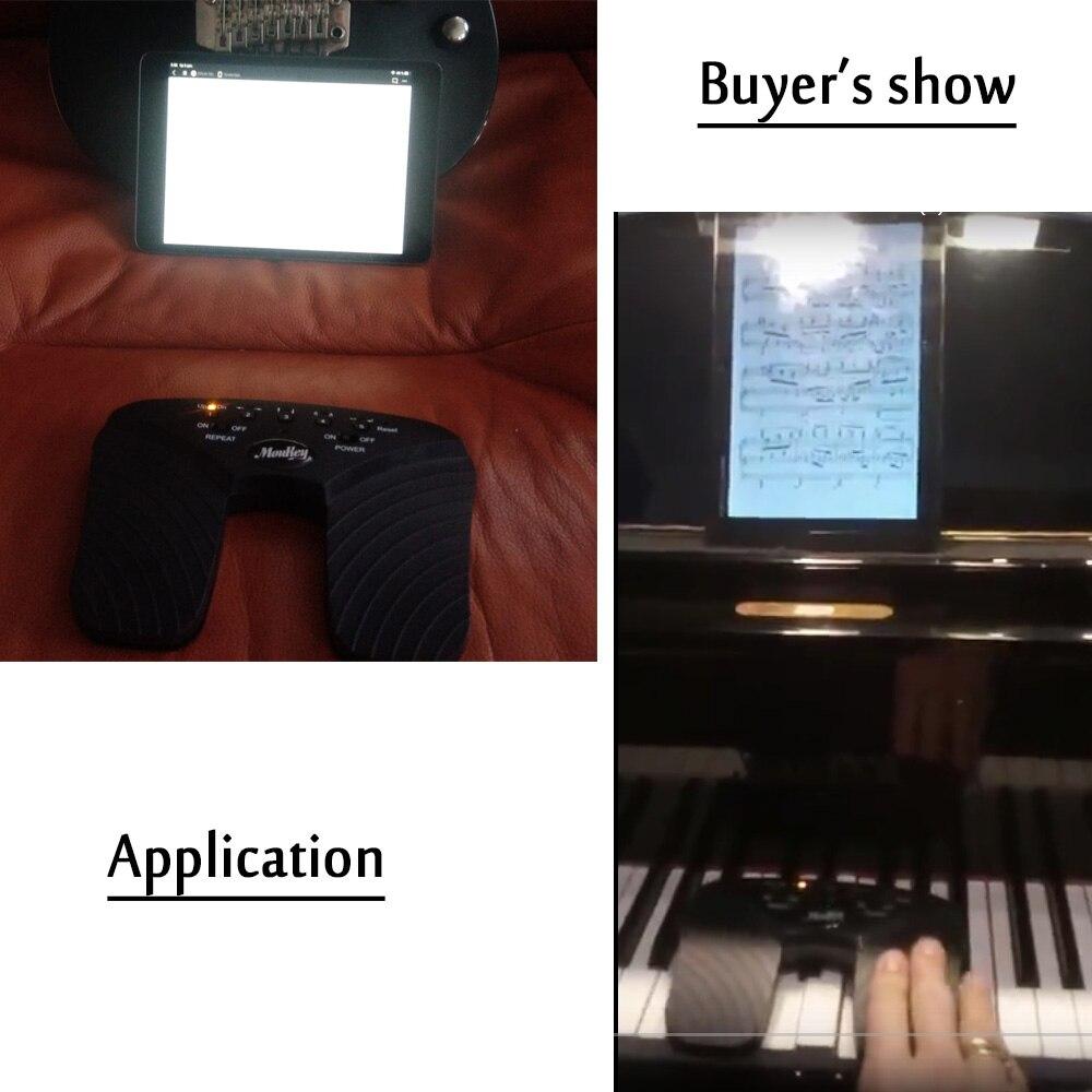 Moukey sans fil Page Turner pédale pour tablettes Ipad App commandes mains libres lecture Page tourne 10 M Bluetooth portée tournant pédale - 6