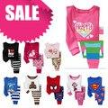PT1, 1 conjunto, pijamas do bebê Crianças, pijamas dos desenhos animados, 100% Algodão de manga longa conjuntos de roupas sleepwear para 2-7 anos.