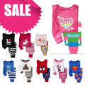 PT1, 1set, Baby Children pajamas, Cartoon pajamas, 100% Cotton long sleeve sleepwear clothing sets for 2-7 year.