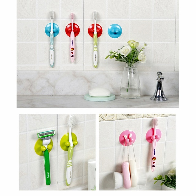 2x Toothbrush Holder Suction Cups Bathroom Wall Tooth Brush Sticky Holders