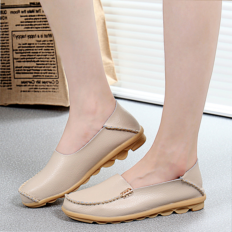 Women Shoes Flats Genuine Leather Fashion Casual Loafers Slip On Flats Soft Moccasins Shoes Women Breathable Nurse Shoes Oxford