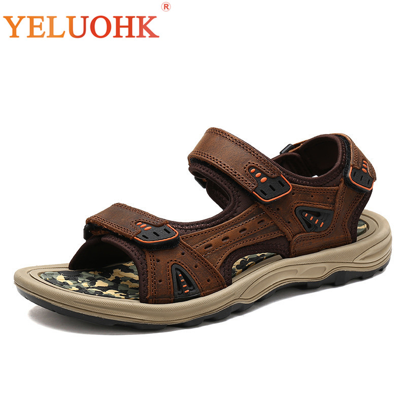 2018 Men Sandals Comfortable Soft Leather Sandals Men Brown Yellow Summer Shoes