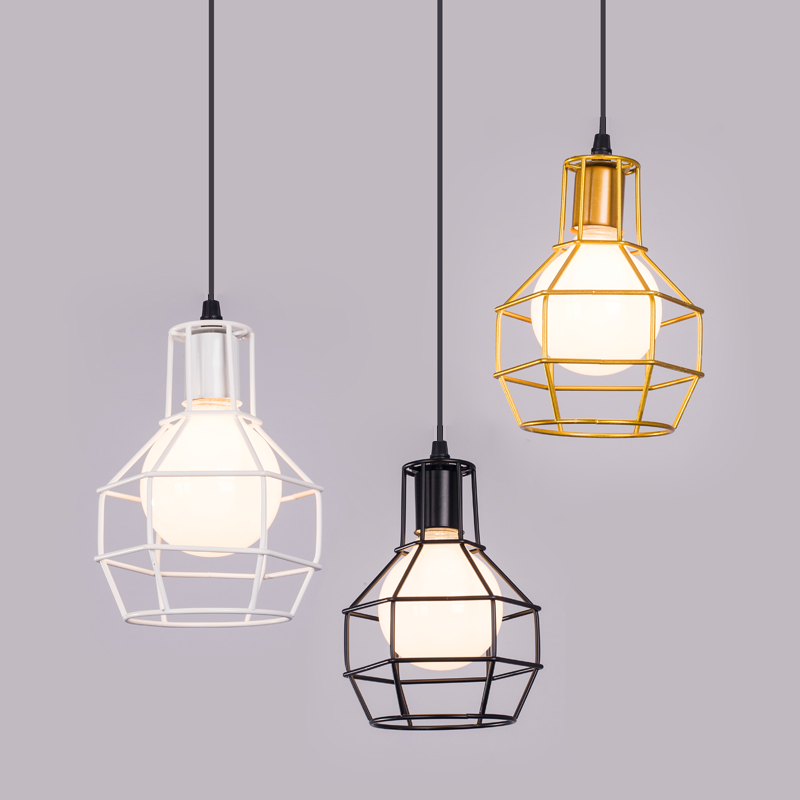 Grenade shape LED pendant light with 5W E27 led lamp wrought iron white gold black warm  black silver gold color lampshade  free shipping black white red color spider led pendant light decorative with warm white 2700k white color 6000k 8w e27 led lamp