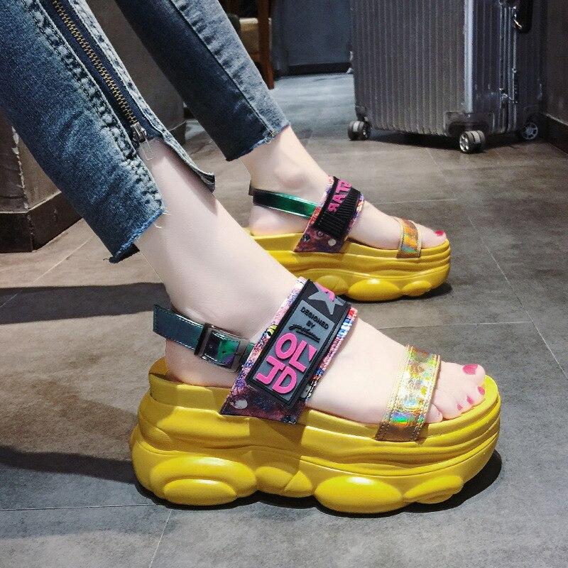 2019 New Summer Women Sandals High Heel Platform Ladies Shoes Summer Beach Sandals Red Women Casual Shoes sandalias mujer 54
