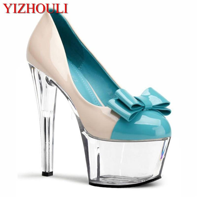 Cute sexy blue bowknot single shoes temperament woman kawaii 17 cm high heels