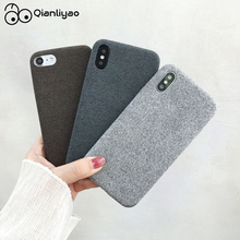 Qianliyao Luxury Plush Fabrics Soft Cover For iPhone 7 Case Linen Cloth Phone Cases 6 6S 8 Plus X XS Max XR Coque