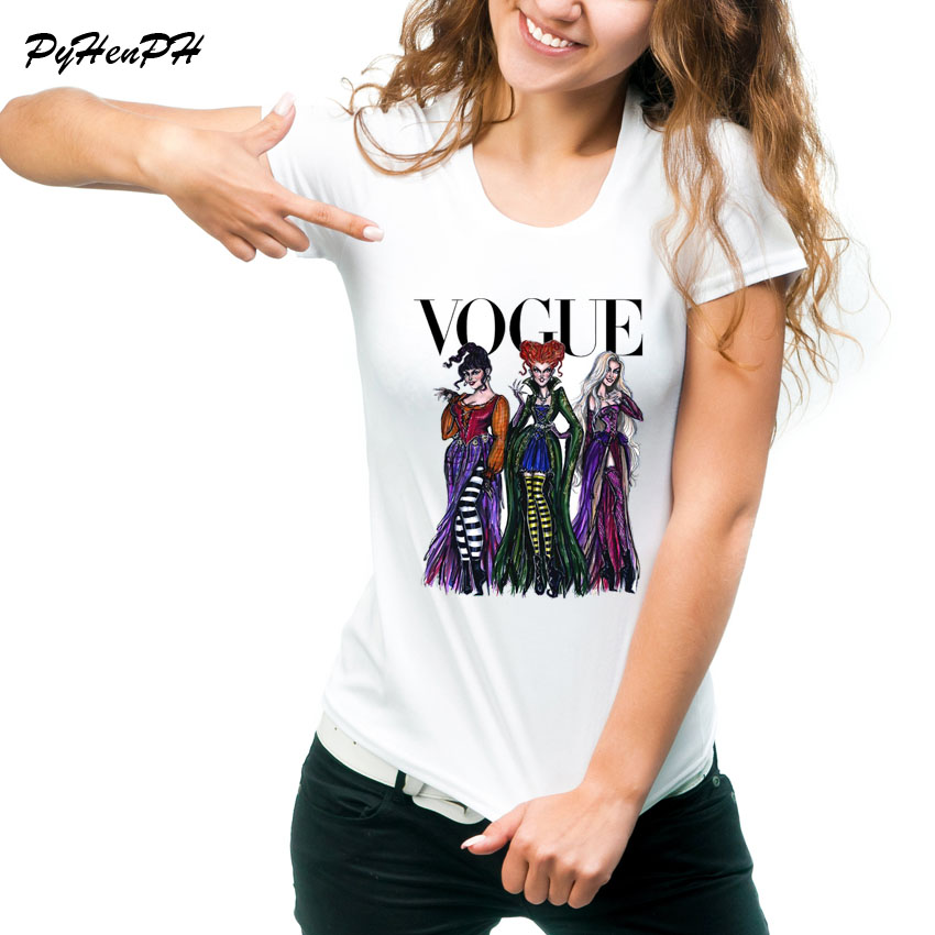 Vogue Hocus Pocus T-Shirt Women Halloween Design Tshirt Short Sleeve Tee Shirt Femme Summer Style Tee Shirts Tumblr Clothing