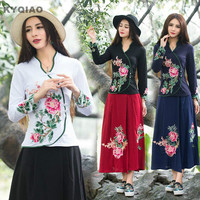 Cheap Clothes China 2016 T Shirt Women Autumn Winter Ethnic Boho Designer Long Sleeve V Neck