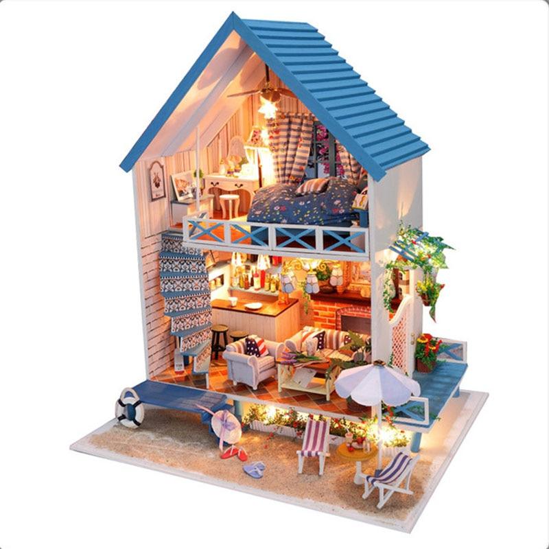 KIT fai da te casa delle bambole miniatura in legno con LUCI ARREDO CASA AL CIOCCOLATO