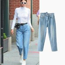 Komsomlsk V407 Irregular Vintage Boyfriend Kendall style demin women pants Cool straight jeans casual pants female