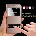 Teléfono móvil de lujo cubierta del caso del tirón del cuero funda para el samsung galaxy a8 a8000 inteligente de llamadas para galaxy a8 accesorios de protección