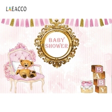 Laeacco Baby Shower Scene Toys Beer Bronze Mirror Photographic Backgrounds Customized Photography Backdrops For Photo Studio
