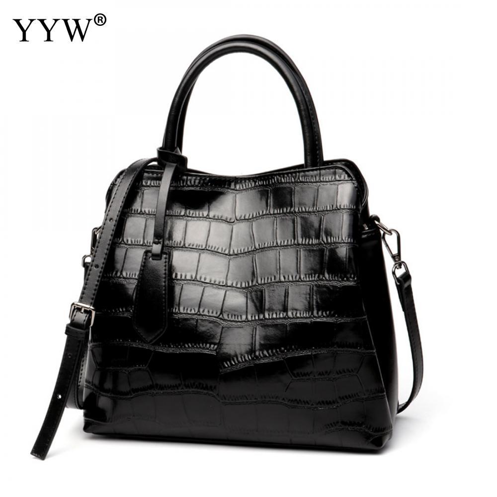 Luxury Women Bags Designer Black Tote Bag for Female Top-Handle Bag Ladys Leather Handbag Famous Brand Shopping Crossbody Bag