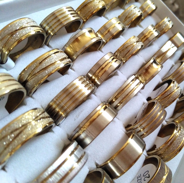 100pcs Gold Line Top MIX Mens Fashion Stainless Steel Rings Man Cool Jewelry Hot sale Wholesale Jewelry Lots