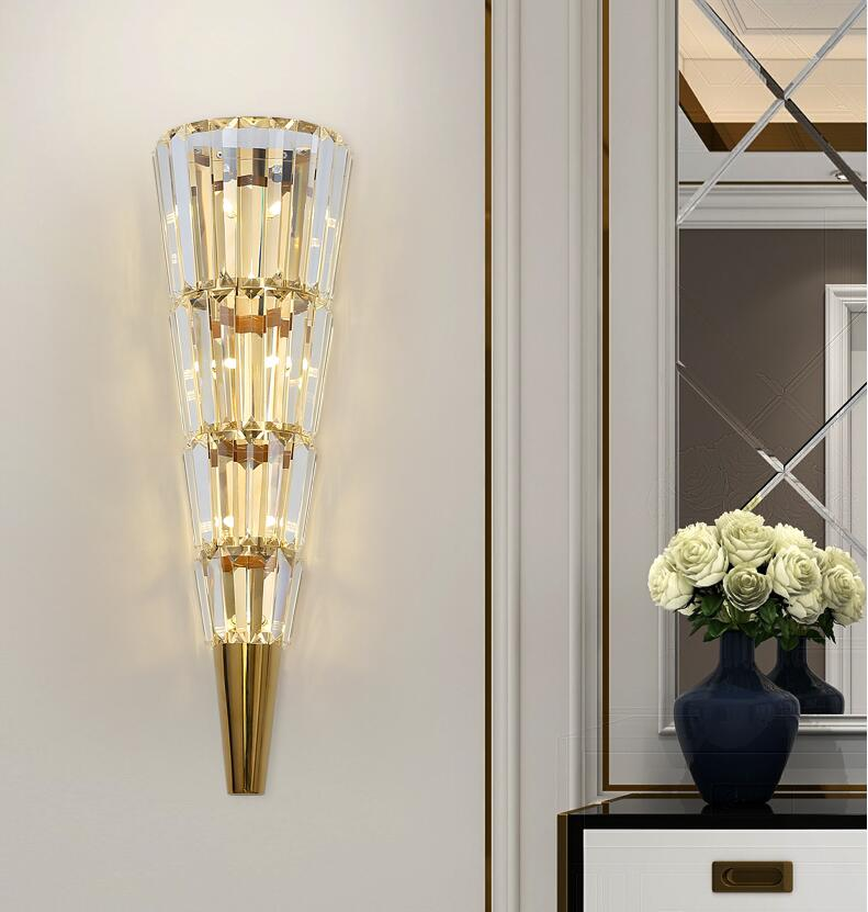 Image 4 - Golden modern wall lamp crystal light luxury Nordic living room decoration hotel LED lightsLED Indoor Wall Lamps   -