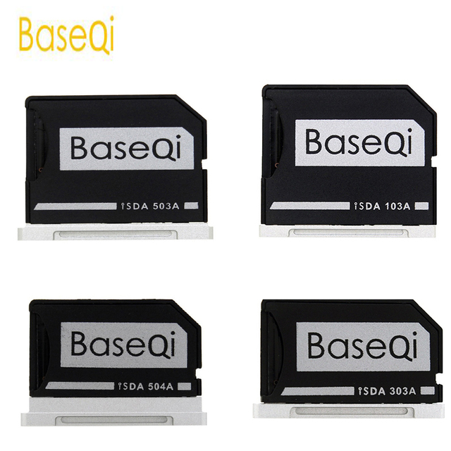 """BaseQi Aluminum Micro SD to SD Memory Card Adapter Stealth Drive Card Reader For MacBook Pro Retina 13""""/15"""" and MacBook Air 13"""""""