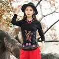 Blusas Feminina camisetas Primavera Outono Roupas Plus Size Bordado Do Vintage Das Mulheres do Estilo Chinês Bordado Top Tee