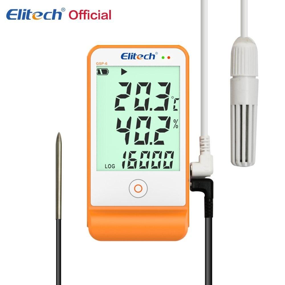 Elitech температура и влажность Регистратор данных регистраторы 16000 точек для холодильного холодной цепи GSP-6