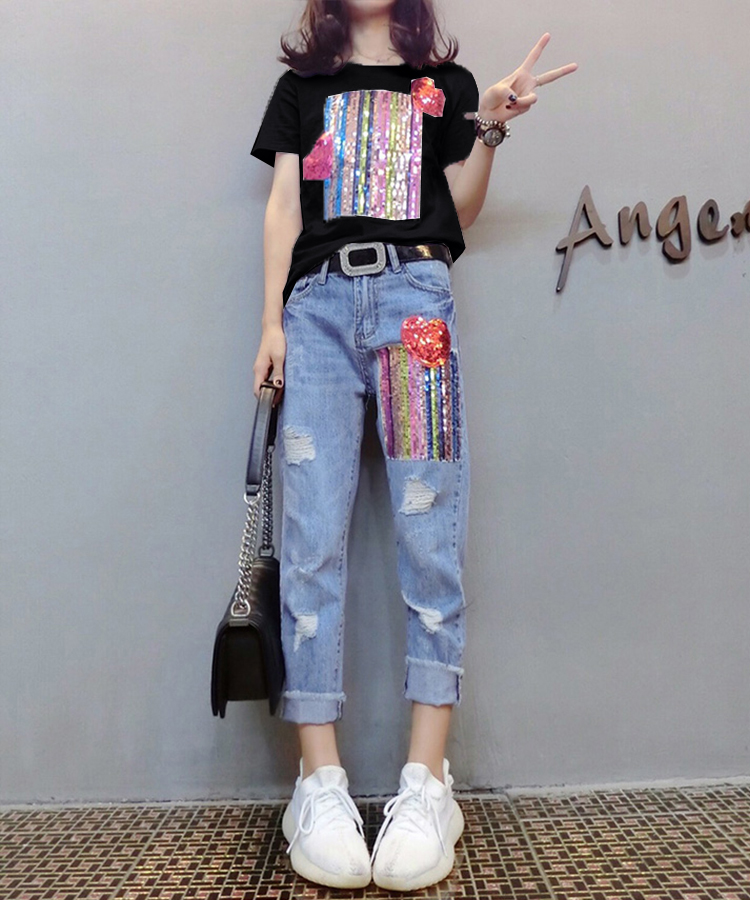 Summer Two Piece Sets Women Plus Size Short Sleeve Sequins Tshirts And Denim Ripped Jeans Sets Suits Casual Women's Sets M-5xl 35