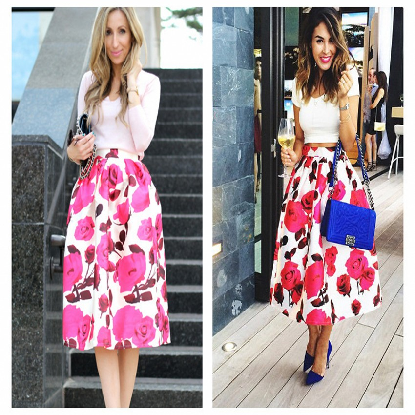 Online Shop Street Style Rose Print Skirts Elastic Waist A Line ...