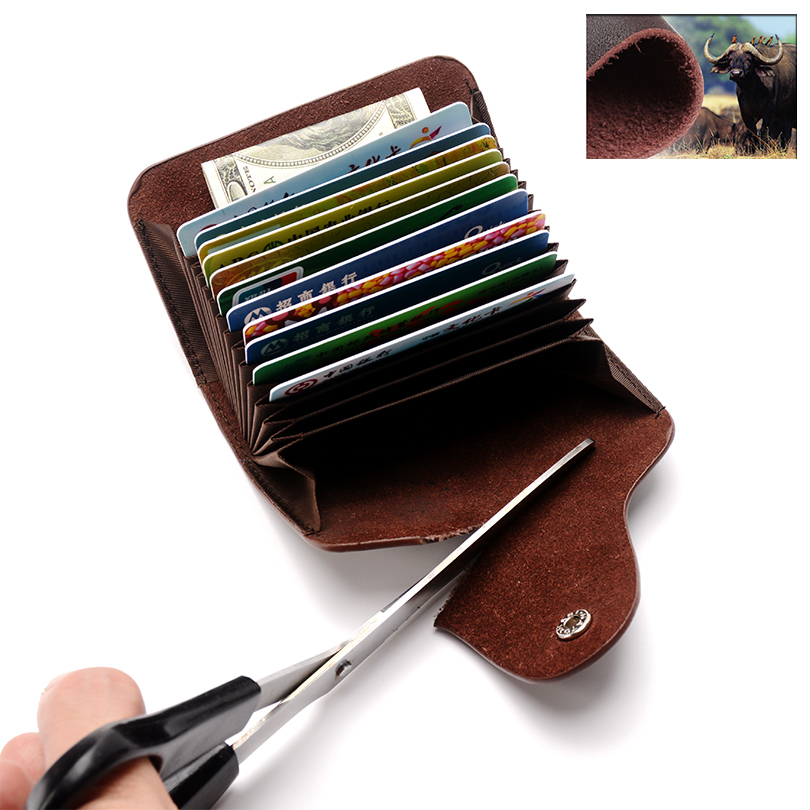 a9cf08c465 COHEART Genuine Leather Card Wallet for Men and Women Cowhide Business Card  Holder Credit Card Purse ...