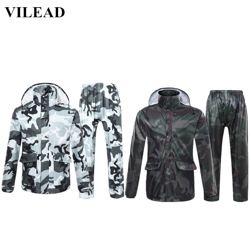 VILEAD Camouflage Adult Raincoat Waterproof Outdoor Rain Pants Cycling Motorcycle Rain Coat Transparent Hat Poncho Rainwear Set