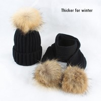 EMS DHL Free Shipping Wholesale New Design Faux Fur Pom Poms Knit Baby Hats And Scarf