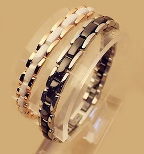 Ceramic classic fashion Bracelet titanium stainless steel Bangle male and female couple jewelry titanium steel link cubic zirconia studded couple bracelet